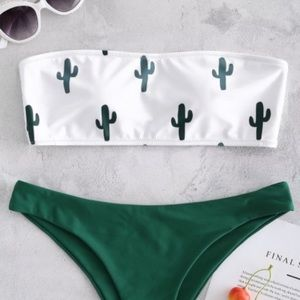 Zaful cactus print bandeau bikini top size medium